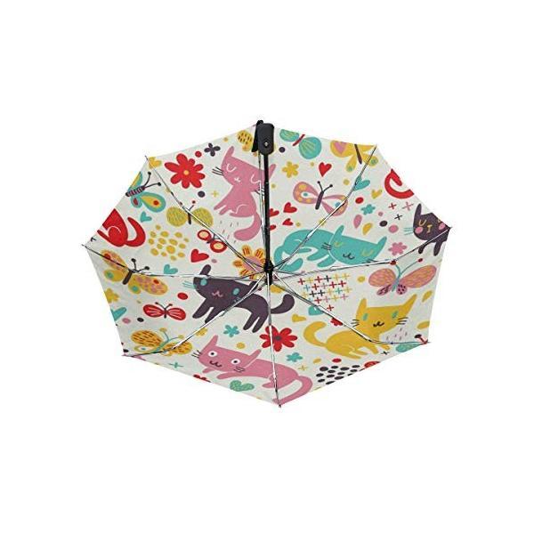 折りたたみ傘 自動開閉 レディース 軽量 晴雨兼用 猫柄 ネコ柄 動物柄 ホワイト 日傘 ワンタッチ UVカット 頑丈な8本骨 耐風 撥水 耐強風