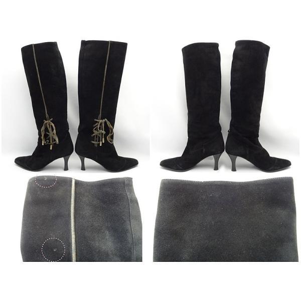 HERMES エルメス ロング ブーツ スエードレザー サイズ36 リボン ブラック B+ A-6028