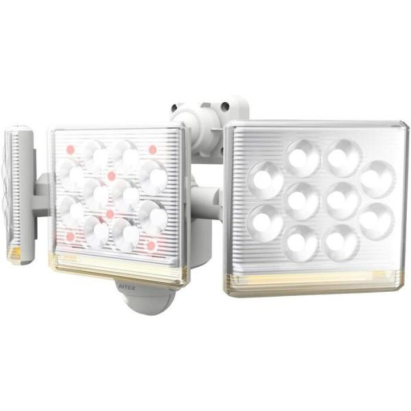ムサシ RITEX フリーアーム式高機能LEDセンサーライト(12W×3灯) 「コンセント式」 ホワイト LED-AC3045 [E010706]