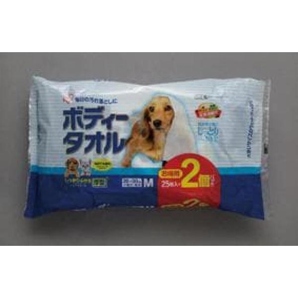 ボディタオル 小型犬 猫用 25枚入×2個 M サイズ BWT-25M×2個 アイリスオーヤマ ウエットティッシュタイプ