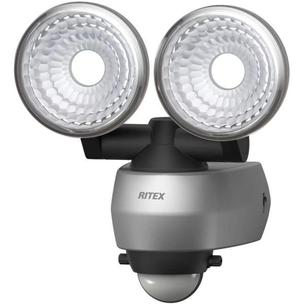 ムサシ(MUSASHI) センサーライト シルバー 本体サイズ:幅15.5×奥行11.5×高さ16.9cm 7.5WX2灯LEDセンサーライト LED-AC315