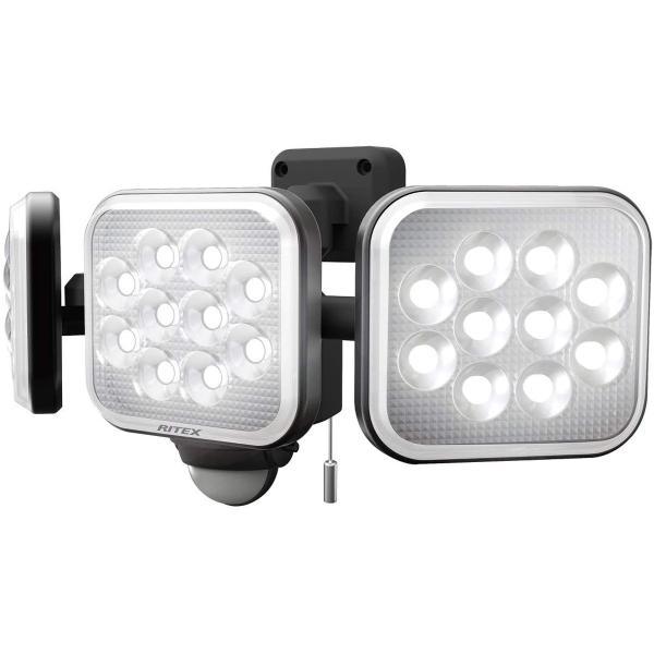 ムサシ(MUSASHI) センサーライト ブラック  14W×3灯フリーアーム式LEDセンサーライト LED-AC3042