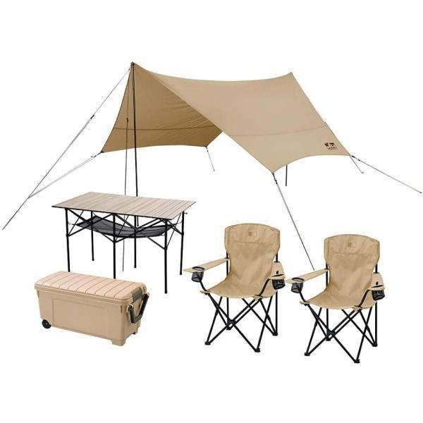 キャンプ用品 5点セット 2人用 ベージュ ハイタイプ C5S-2H アイリスオーヤマ   アウトドア キャンプ タープ テーブル チェア 2脚 セット 収納 おしゃれ