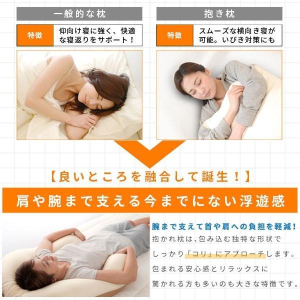枕 肩こり 抱き枕 抱かれ枕 アーチピローFUN ファン 枕カバー付 抱き枕 肩のこり 疲れ  いびき U字型 30日間返品保証 送料無料 日本製|dakaremakura|09