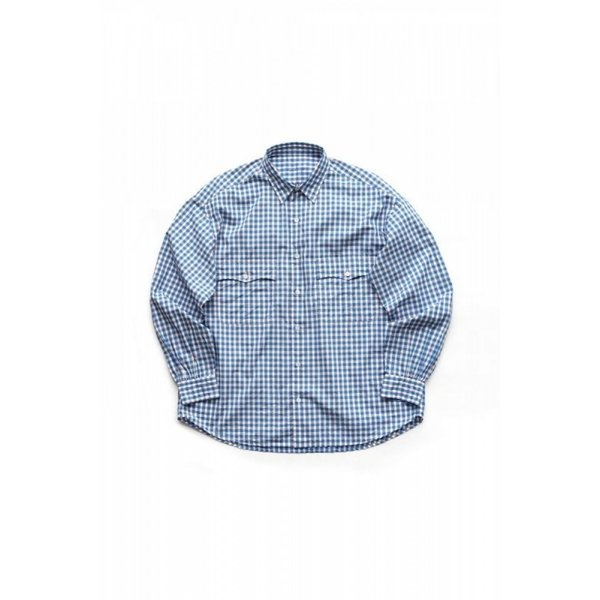 PORTER CLASSIC ROLL UP TRICOLOR GINGHAM CHECK SHIRT BLUE ポータークラシック ロールアップ ギンガムチェックシャツ 通販