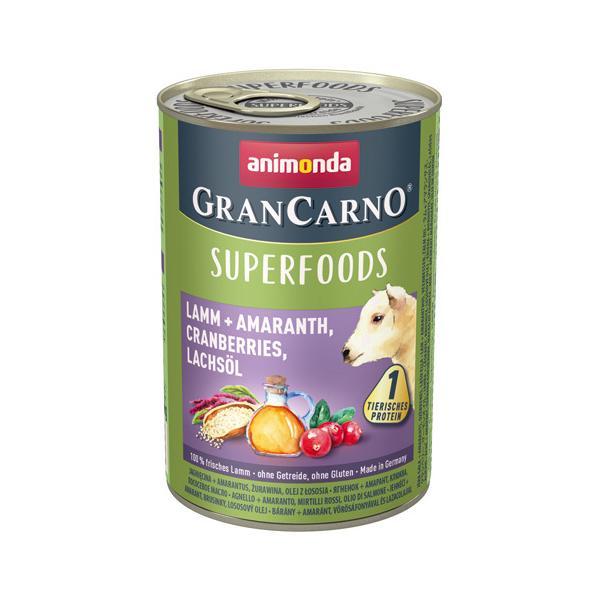 [82437] アニモンダ グランカルノ ウェット スーパーフード アダルト 子羊・アマランサス・クランベリー・サーモンオイル 400g  ウェットフード 缶詰 animonda