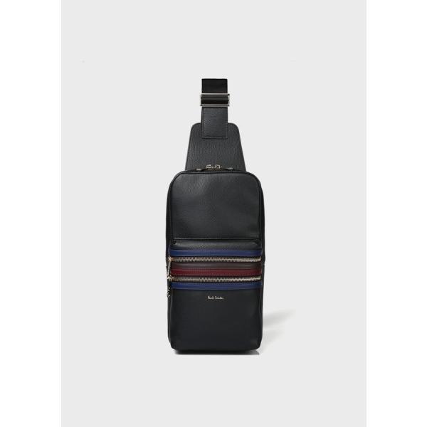 ポールスミスバッグ シグネチャージップストライプ ボディバッグ 873281 N480 新作新品 クリスマスプレゼント Paul Smith メンズ ブラック