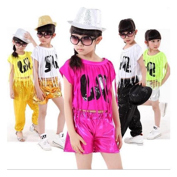 2b11a73f94674 2枚送料無料!スパンコール フリンジ 男の子 女の子ジャッズダンス衣装 半袖Tシャツ+ ...