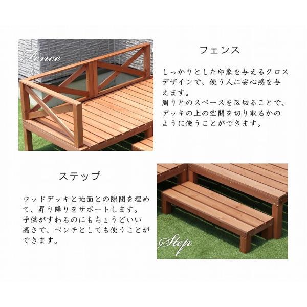 天然木ウッドデッキ ウッドデッキ  6点セット 0.50坪 天然木製 縁台 バルコニー  DIY   |dantotsu-online|03