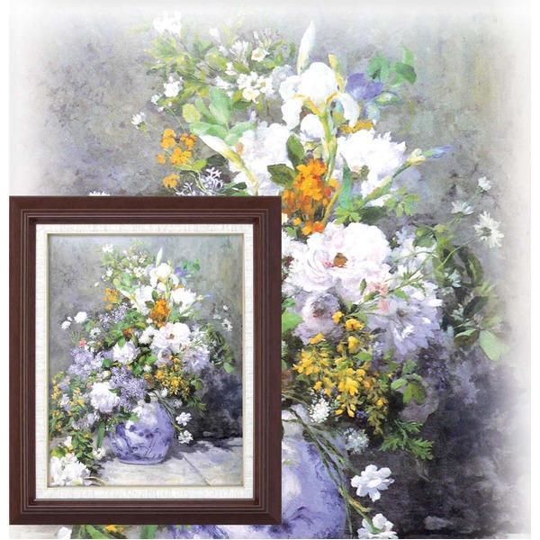 【送料無料】名画額縁/フレームセット 〔F6号〕 ルノワール 「花瓶の花」 433×525×50mm 壁掛けひも付き