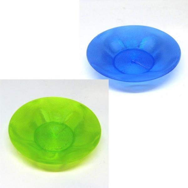 3Dデザイン豆皿 小皿 クリアで輝くかる〜い豆皿 (らせん 3D 印刷で造形,クリアな緑・青・黄・赤,直径 7 cm.送料 120 円)|dasyn