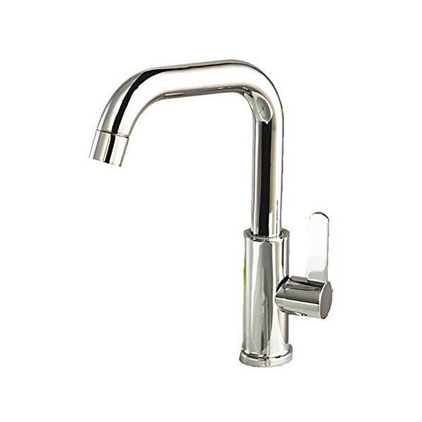 フェリモアL型単水栓シングルレバー蛇口交換洗面台台所手洗いボウル用水道立水栓(シルバー)