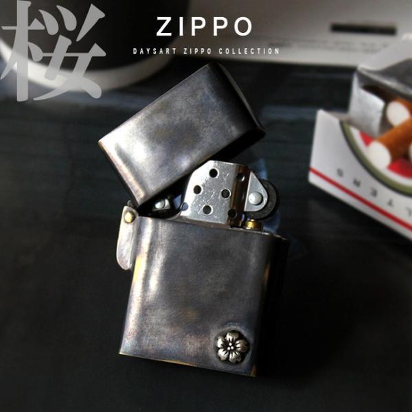 Zippoライター good vibrations アンティーク調 ブラス製デザインアーマーモデル 桜 ヴィンテージ オイルライター ギフト