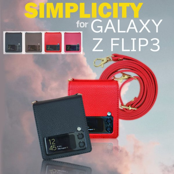 Galaxy Z Flip 3 ギャラクシーzフリップ3 ストラップ付き シンプル ケース SC-54B SCG12 お洒落上品 ギャラクシーz3 フリップ 5G ケースカバー