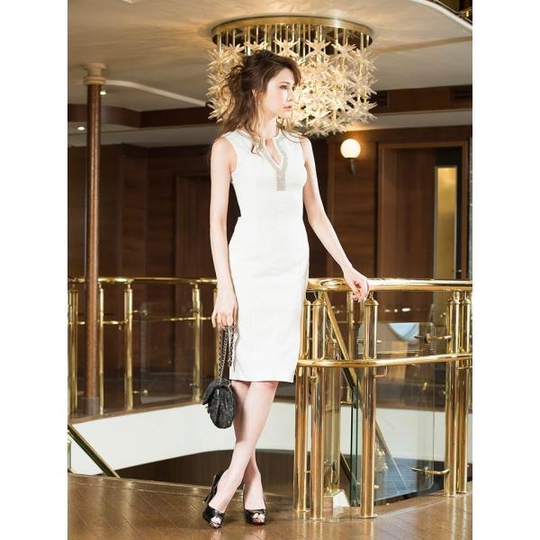 キャバ ドレス キャバドレス ワンピース ビジュー カットアウト ノースリ タイト ミニドレス 大きいサイズ S M L シンプル 黒 白 Vカッ dazzy 02
