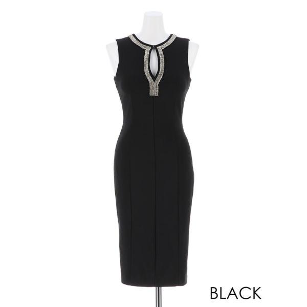 キャバ ドレス キャバドレス ワンピース ビジュー カットアウト ノースリ タイト ミニドレス 大きいサイズ S M L シンプル 黒 白 Vカッ dazzy 04