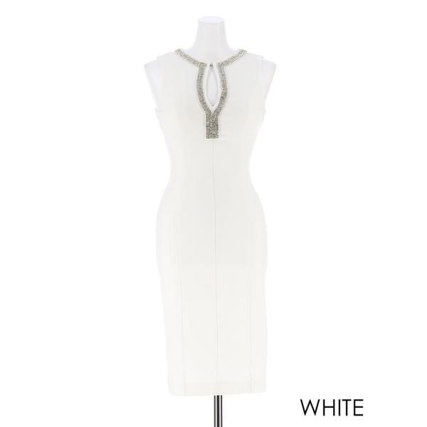 キャバ ドレス キャバドレス ワンピース ビジュー カットアウト ノースリ タイト ミニドレス 大きいサイズ S M L シンプル 黒 白 Vカッ dazzy 05