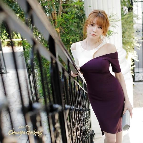 キャバ ドレス キャバドレス ワンピース 大きいサイズ バイカラー オープンショルダー タイト ドレス S M L アイボリー パープル アシメ|dazzy