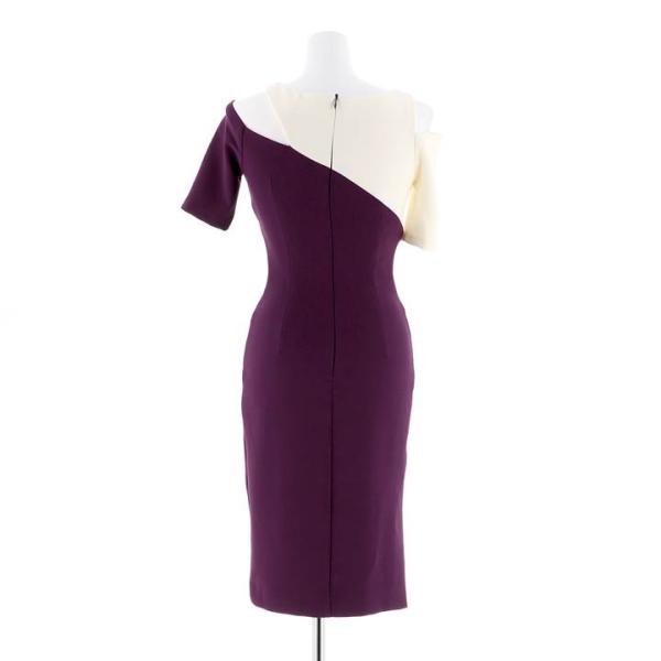 キャバ ドレス キャバドレス ワンピース 大きいサイズ バイカラー オープンショルダー タイト ドレス S M L アイボリー パープル アシメ|dazzy|05