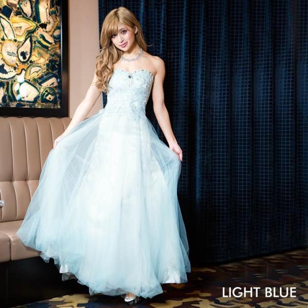 ドレス キャバ ロング キャバドレス ビジュー付 背中 編上げ チュール ベア Aライン ロングドレス 大きいサイズ S M L 黄色 水色 ピン|dazzy|02
