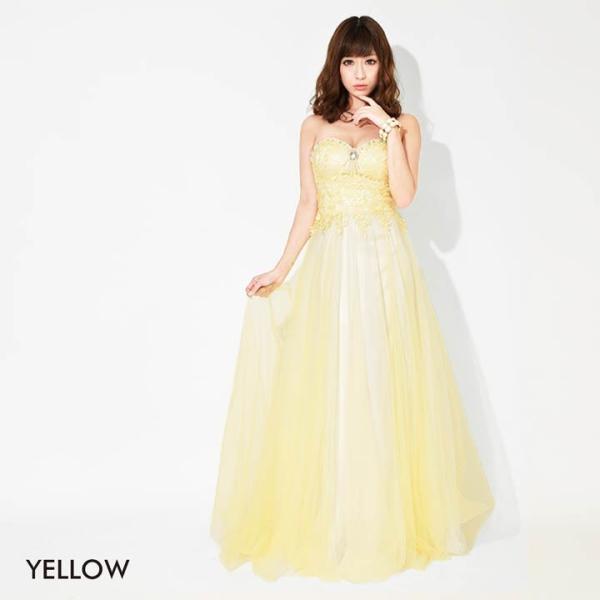 ドレス キャバ ロング キャバドレス ビジュー付 背中 編上げ チュール ベア Aライン ロングドレス 大きいサイズ S M L 黄色 水色 ピン|dazzy|03