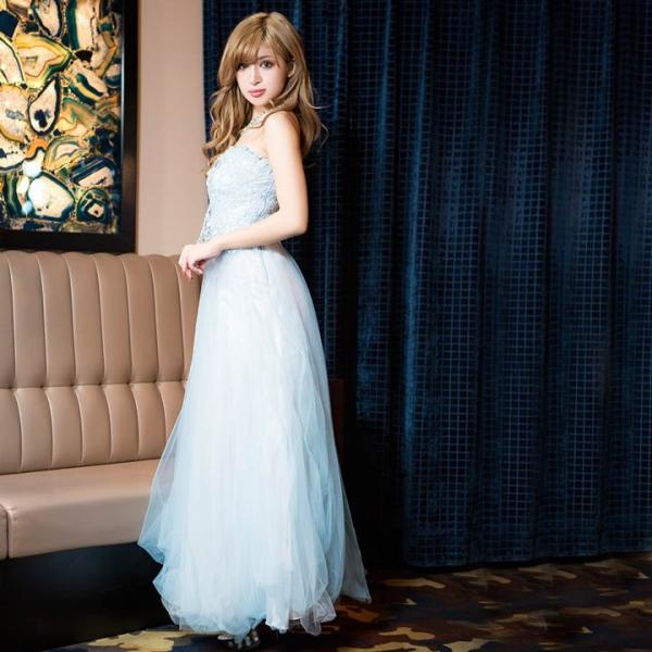 ドレス キャバ ロング キャバドレス ビジュー付 背中 編上げ チュール ベア Aライン ロングドレス 大きいサイズ S M L 黄色 水色 ピン|dazzy|05