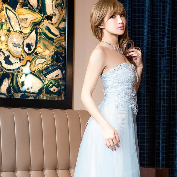 ドレス キャバ ロング キャバドレス ビジュー付 背中 編上げ チュール ベア Aライン ロングドレス 大きいサイズ S M L 黄色 水色 ピン|dazzy|06