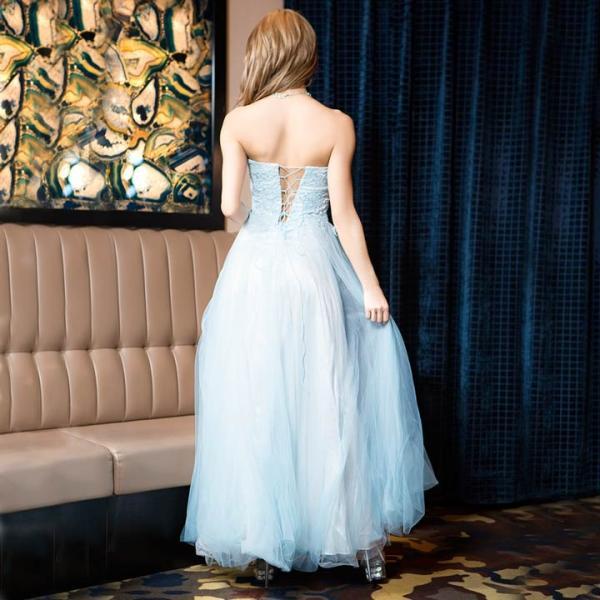 ドレス キャバ ロング キャバドレス ビジュー付 背中 編上げ チュール ベア Aライン ロングドレス 大きいサイズ S M L 黄色 水色 ピン|dazzy|07