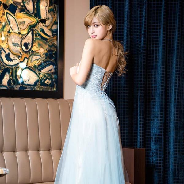 ドレス キャバ ロング キャバドレス ビジュー付 背中 編上げ チュール ベア Aライン ロングドレス 大きいサイズ S M L 黄色 水色 ピン|dazzy|08