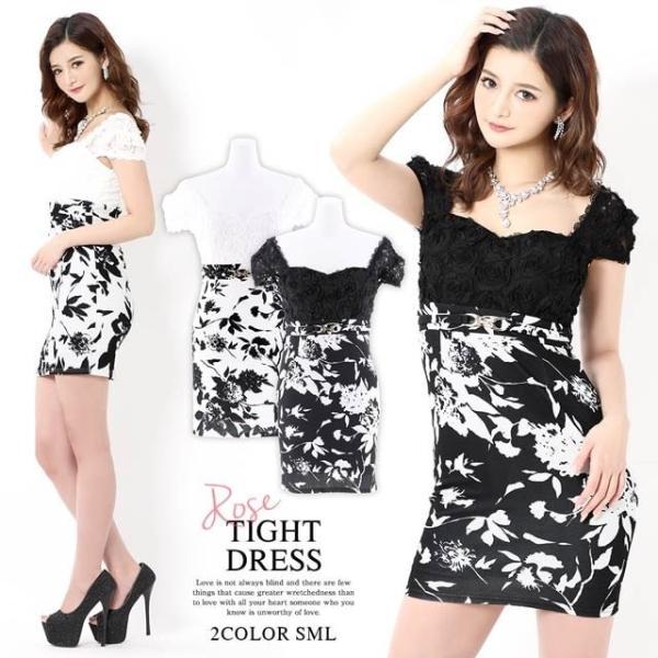 キャバ ドレス ミニ キャバドレス ワンピース ナイトドレス 大きいサイズ ベルト バイカラー 花柄 タイト ミニドレス S M L 白 黒 モノ|dazzy