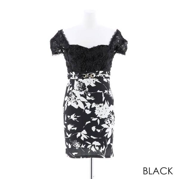キャバ ドレス ミニ キャバドレス ワンピース ナイトドレス 大きいサイズ ベルト バイカラー 花柄 タイト ミニドレス S M L 白 黒 モノ|dazzy|11