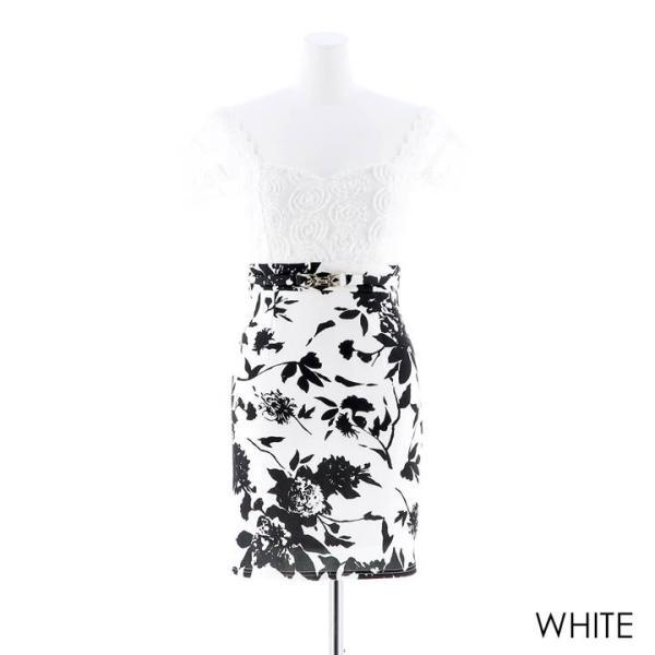 キャバ ドレス ミニ キャバドレス ワンピース ナイトドレス 大きいサイズ ベルト バイカラー 花柄 タイト ミニドレス S M L 白 黒 モノ|dazzy|12