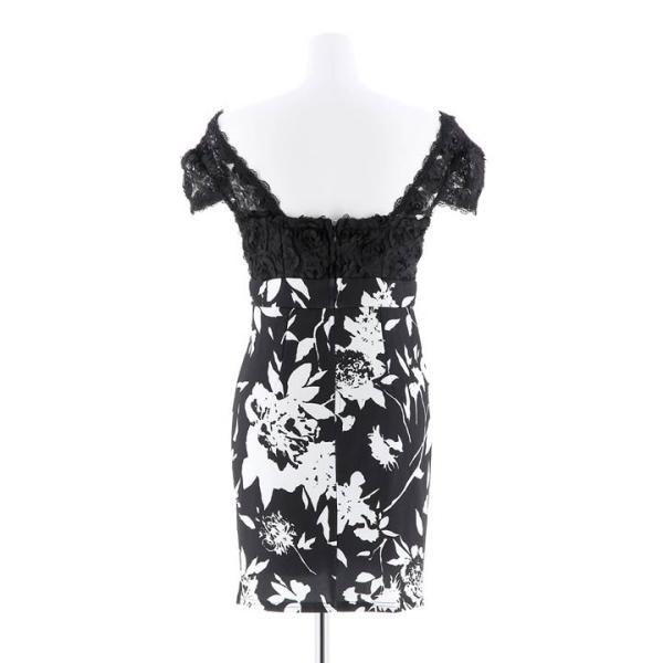 キャバ ドレス ミニ キャバドレス ワンピース ナイトドレス 大きいサイズ ベルト バイカラー 花柄 タイト ミニドレス S M L 白 黒 モノ|dazzy|13
