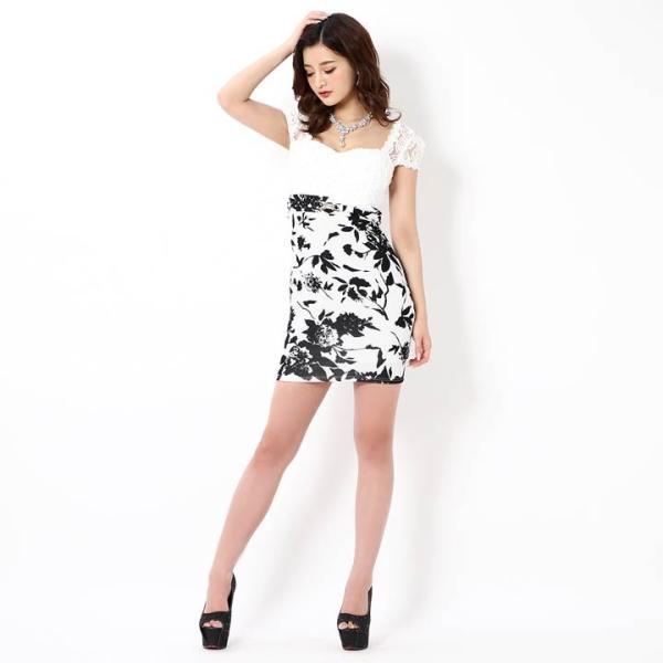 キャバ ドレス ミニ キャバドレス ワンピース ナイトドレス 大きいサイズ ベルト バイカラー 花柄 タイト ミニドレス S M L 白 黒 モノ|dazzy|03