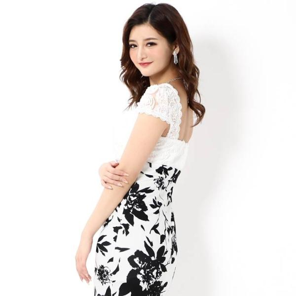 キャバ ドレス ミニ キャバドレス ワンピース ナイトドレス 大きいサイズ ベルト バイカラー 花柄 タイト ミニドレス S M L 白 黒 モノ|dazzy|04