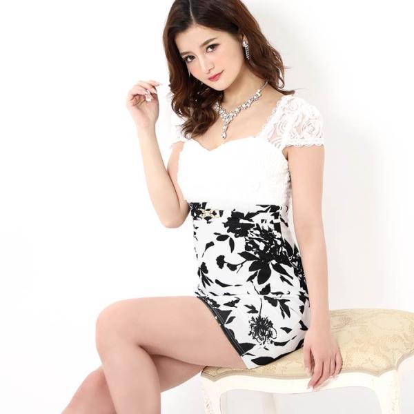 キャバ ドレス ミニ キャバドレス ワンピース ナイトドレス 大きいサイズ ベルト バイカラー 花柄 タイト ミニドレス S M L 白 黒 モノ|dazzy|05