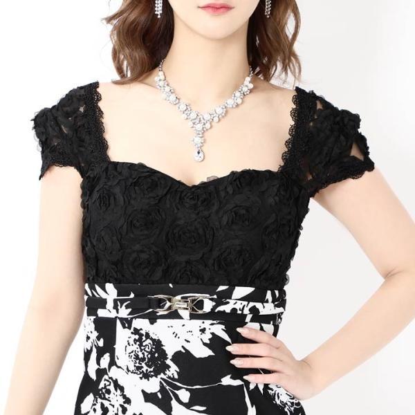 キャバ ドレス ミニ キャバドレス ワンピース ナイトドレス 大きいサイズ ベルト バイカラー 花柄 タイト ミニドレス S M L 白 黒 モノ|dazzy|06