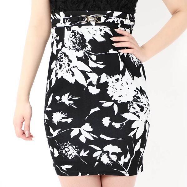 キャバ ドレス ミニ キャバドレス ワンピース ナイトドレス 大きいサイズ ベルト バイカラー 花柄 タイト ミニドレス S M L 白 黒 モノ|dazzy|07
