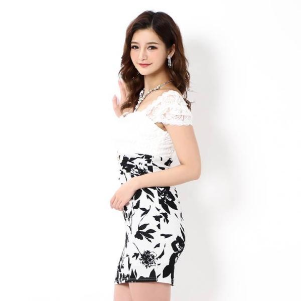 キャバ ドレス ミニ キャバドレス ワンピース ナイトドレス 大きいサイズ ベルト バイカラー 花柄 タイト ミニドレス S M L 白 黒 モノ|dazzy|09
