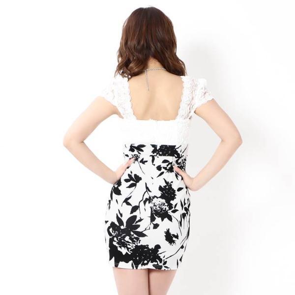 キャバ ドレス ミニ キャバドレス ワンピース ナイトドレス 大きいサイズ ベルト バイカラー 花柄 タイト ミニドレス S M L 白 黒 モノ|dazzy|10