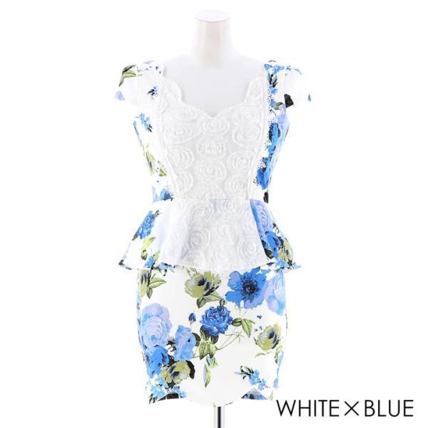ドレス キャバドレス 大きいサイズ S M L LL 立体フラワー ビビッド 花柄 ペプラム タイト ミニドレス dazzy dazzy 12