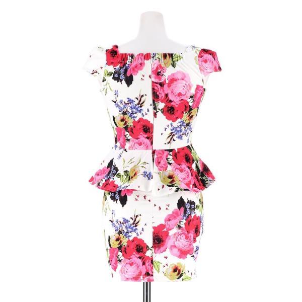ドレス キャバドレス 大きいサイズ S M L LL 立体フラワー ビビッド 花柄 ペプラム タイト ミニドレス dazzy dazzy 13