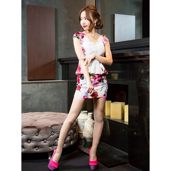 ドレス キャバドレス 大きいサイズ S M L LL 立体フラワー ビビッド 花柄 ペプラム タイト ミニドレス dazzy dazzy 05