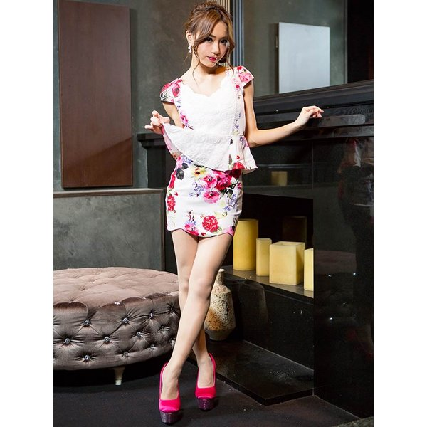 ドレス キャバドレス 大きいサイズ S M L LL 立体フラワー ビビッド 花柄 ペプラム タイト ミニドレス dazzy dazzy 06