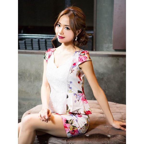 ドレス キャバドレス 大きいサイズ S M L LL 立体フラワー ビビッド 花柄 ペプラム タイト ミニドレス dazzy dazzy 10