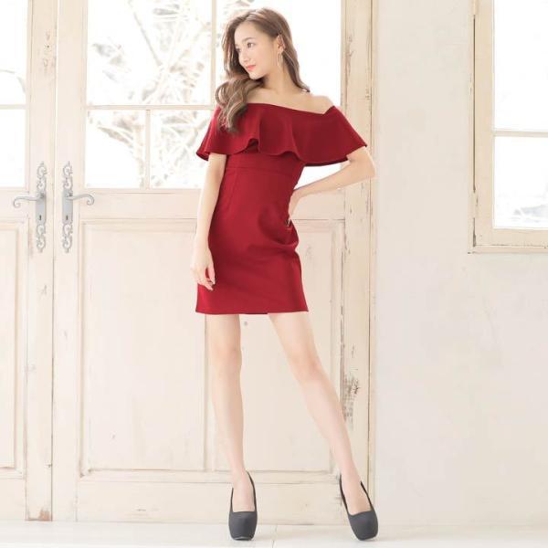 10b798c7ff8f6 ... キャバ ドレス キャバドレス ワンピース 大きいサイズ S M L LL モノトーン オフショルタイト ミニドレス ピンク 白 ...