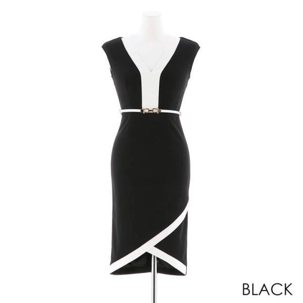 ドレス キャバ ラップ 風 バイカラー 膝丈 タイト ドレス  ドレス ワンピース 膝丈ドレス セクシー ナイトドレス キャバ ドレス キャバ ワ|dazzy|11