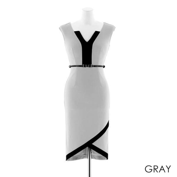 ドレス キャバ ラップ 風 バイカラー 膝丈 タイト ドレス  ドレス ワンピース 膝丈ドレス セクシー ナイトドレス キャバ ドレス キャバ ワ|dazzy|15