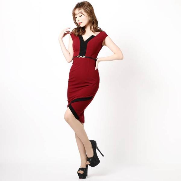 ドレス キャバ ラップ 風 バイカラー 膝丈 タイト ドレス  ドレス ワンピース 膝丈ドレス セクシー ナイトドレス キャバ ドレス キャバ ワ|dazzy|05
