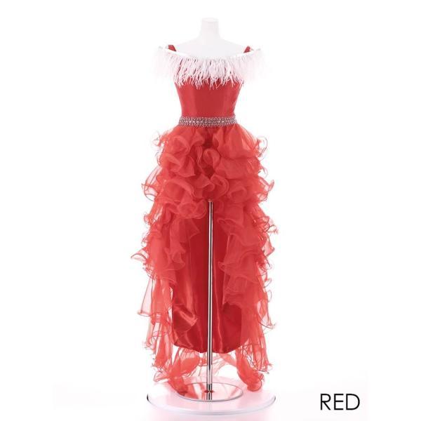 AngelR キャバ ドレス キャバドレス ナイトドレス ボリュームフリルオフショルダー前ミニロングドレス ドレス 二次会 花嫁 誕生日 バース|dazzy|12